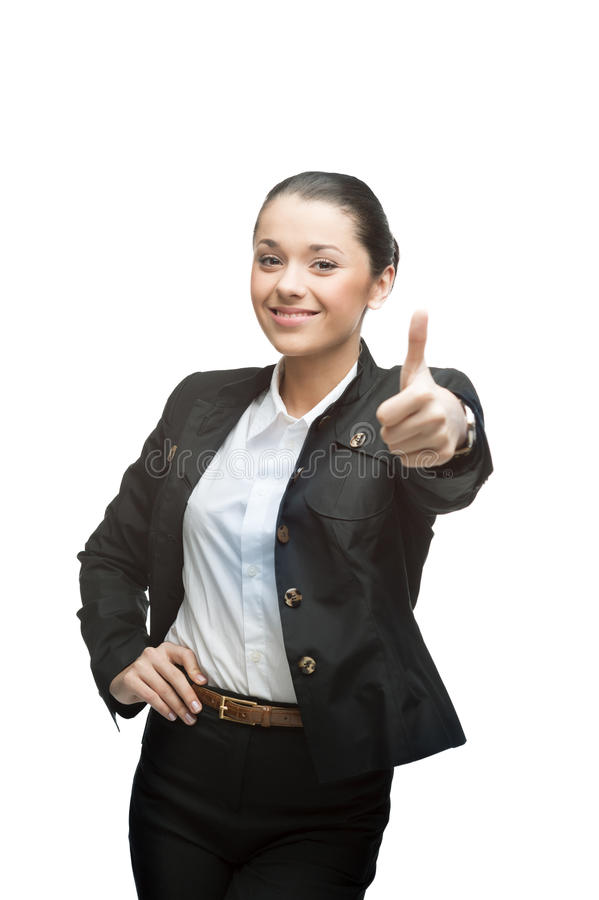 Bizneswoman pokazuje kciuk up zdjęcia stock