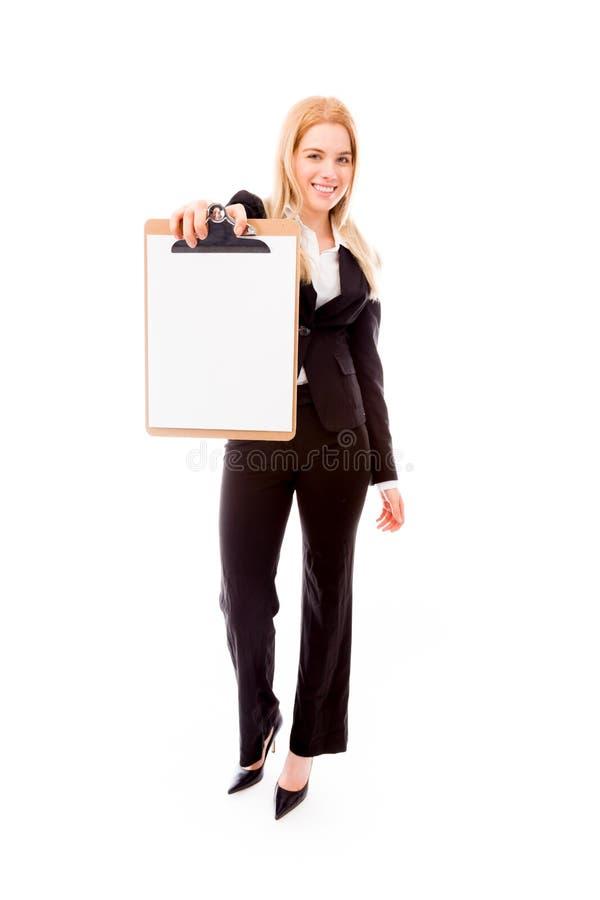 Download Bizneswoman Pokazuje Pustego Schowek Zdjęcie Stock - Obraz złożonej z zaufanie, blondyny: 41950014