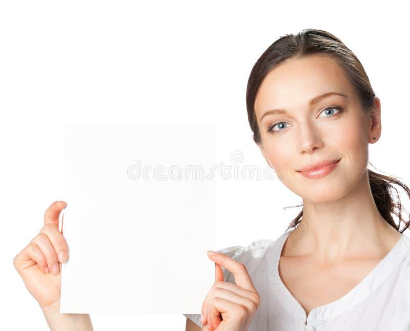 bizneswoman pokazywać signboard zdjęcia stock