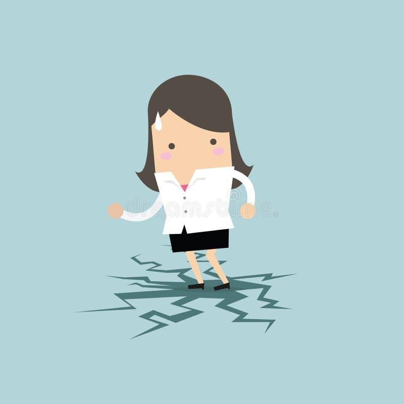 Bizneswoman pozycja na łupanie podłoga royalty ilustracja