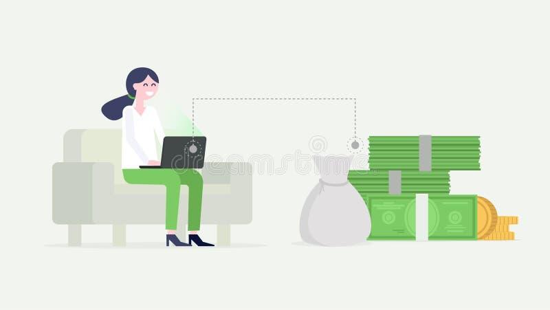 Bizneswoman pracuje na laptopie, siedzący na leżance, zarabia pieniądze Wektorowa płaska ilustracja ilustracja wektor