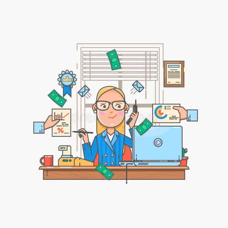 Bizneswoman pracuje pieniężne statystyki i analizuje Dane analizy pojęcie Wektorowa ilustracja kolor ikona w mieszkanie linii st ilustracji