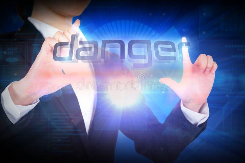 Bizneswoman przedstawia słowa niebezpieczeństwo obraz royalty free