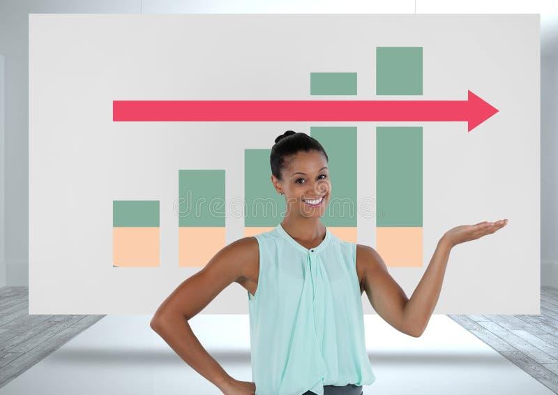 Bizneswoman przedstawia z kolorowymi map statystykami strzałkowatymi na białej desce zdjęcie royalty free