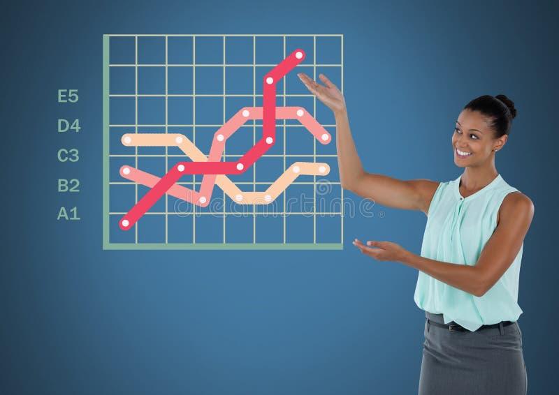 Bizneswoman przedstawia z kolorowymi siatki mapy statystykami ilustracja wektor