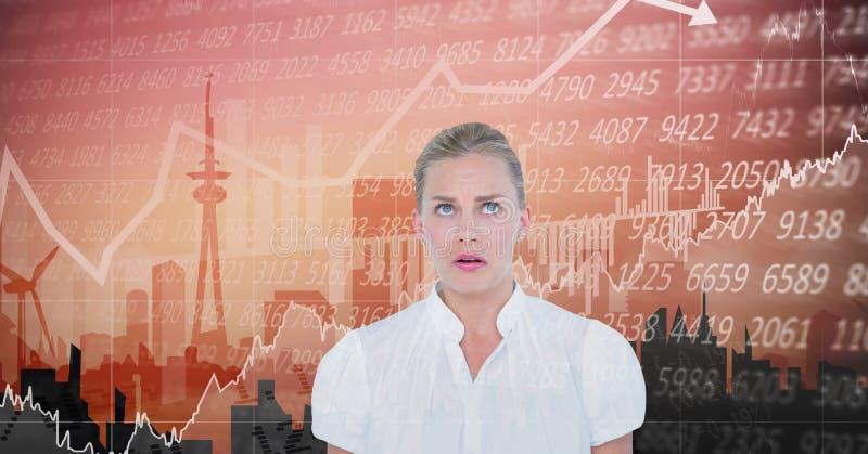 Bizneswoman przyglądający up przeciw dane royalty ilustracja