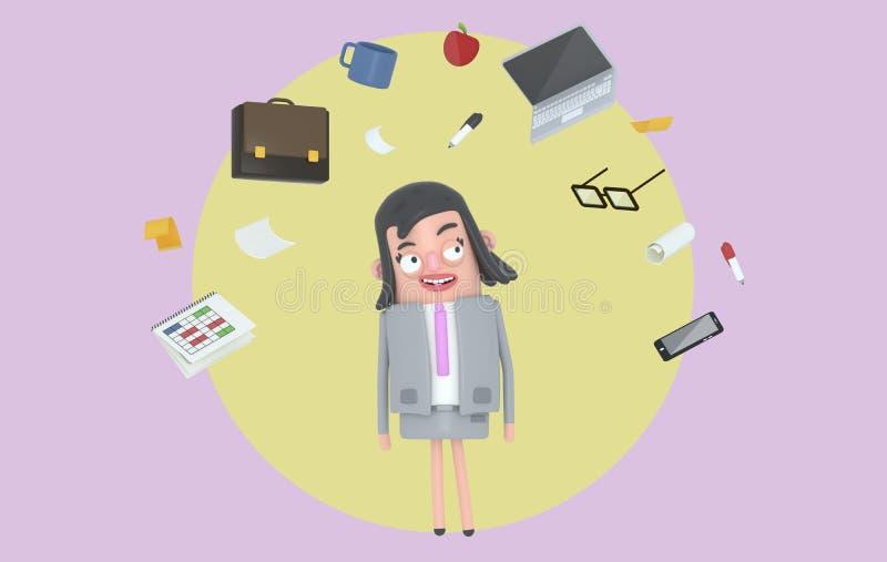 Bizneswoman relaksuje patrzejący biurowych akcesoria Tło odosobniony royalty ilustracja