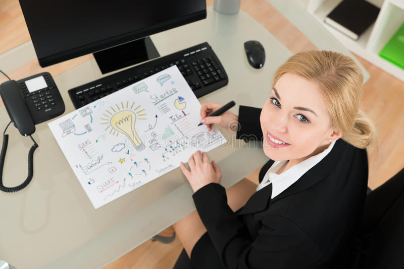 Bizneswoman Robi diagramowi uruchomienie plan W biurze fotografia stock