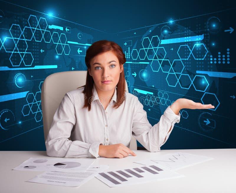 Download Bizneswoman Robi Papierkowej Robocie Z Futurystycznym Tłem Zdjęcie Stock - Obraz złożonej z dziewczyna, filename: 53776378