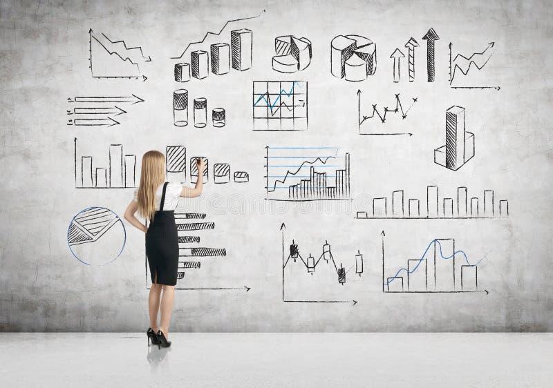 Bizneswoman rysuje biznesowe mapy zdjęcie royalty free
