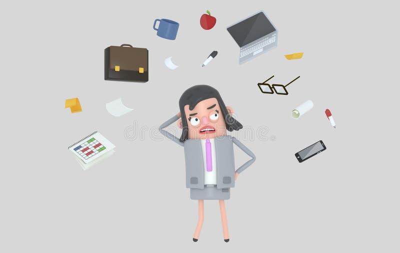 Bizneswoman stresuje się patrzejący biurowych akcesoria odosobniony ilustracja wektor
