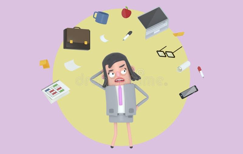 Bizneswoman stresuje się patrzejący biurowych akcesoria Tło odosobniony royalty ilustracja