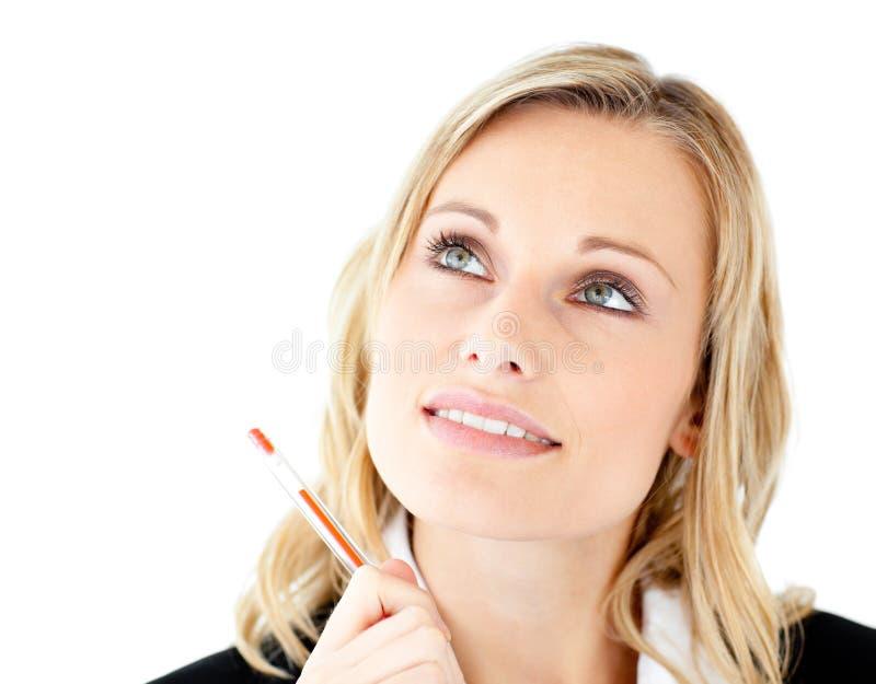 bizneswoman target169_0_ rozważnych potomstwa zdjęcia royalty free