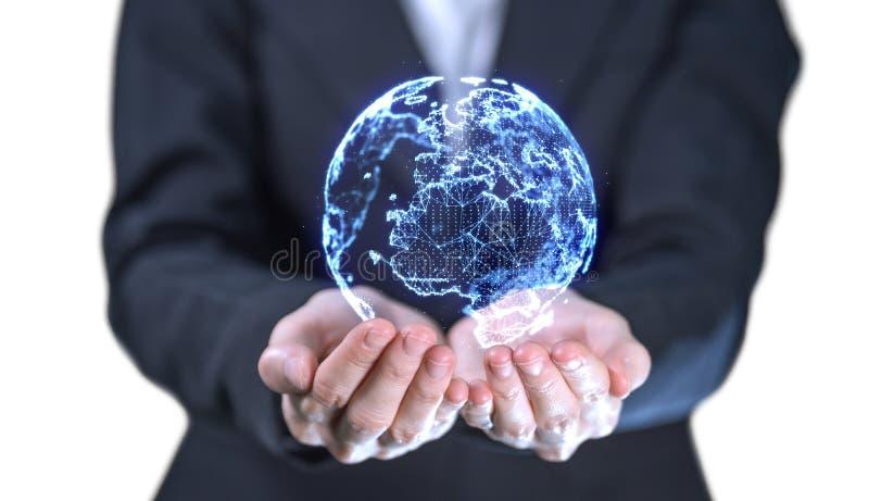 Bizneswoman trzyma cyfrowego światowego hologram na białym tle dla technologii strony internetowej dane lub sieci pojęcia zdjęcie stock