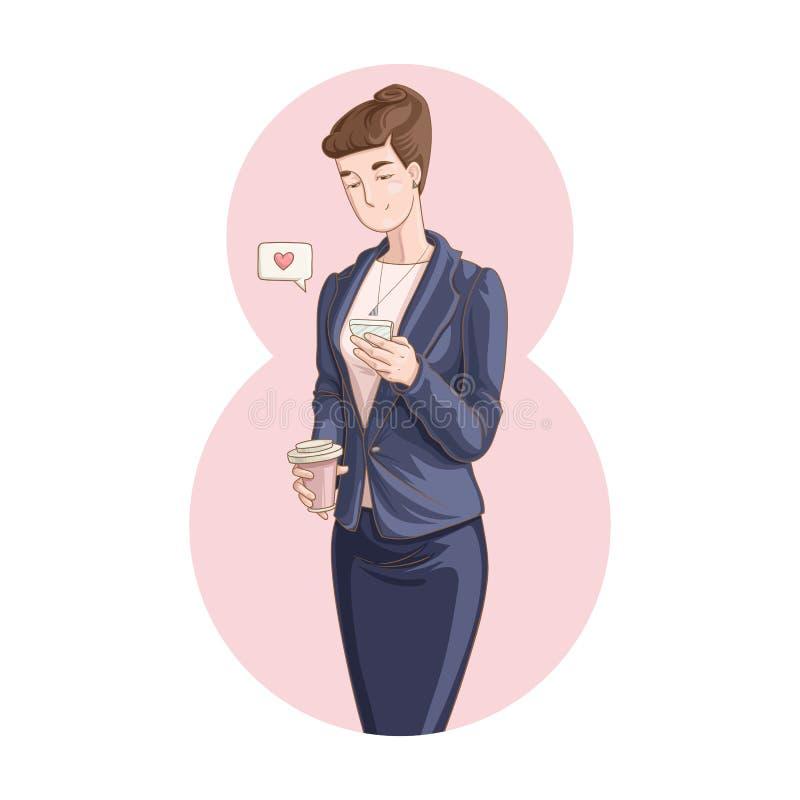 Bizneswoman trzyma filiżanka kawy i używa telefon komórkowego royalty ilustracja