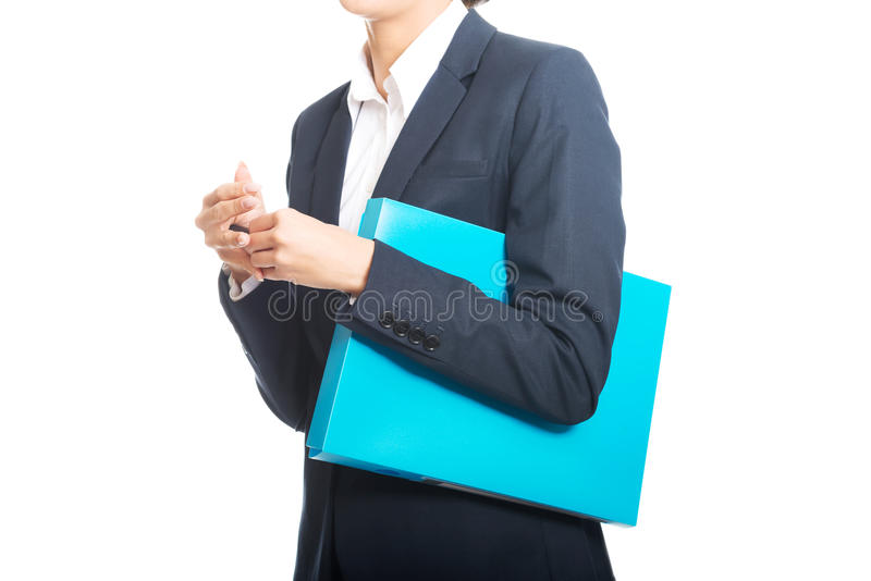 Bizneswoman trzyma jej pióra i segregatoru zdjęcia stock
