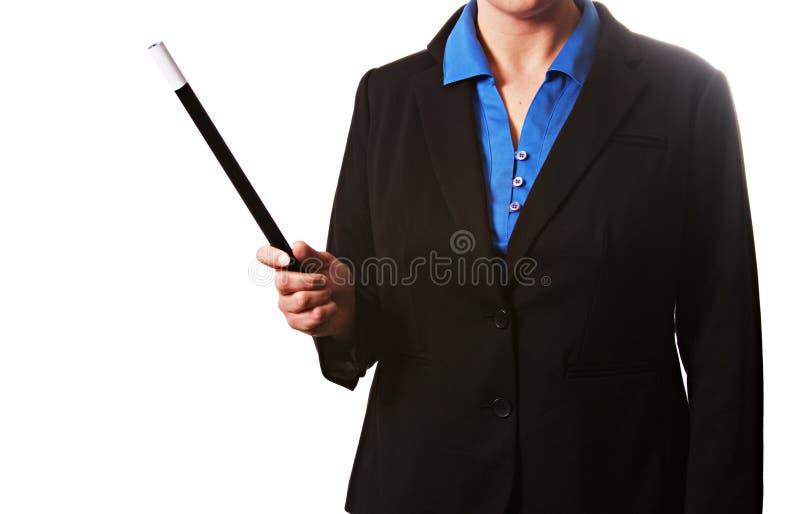 Bizneswoman trzyma magiczną różdżkę zdjęcie stock