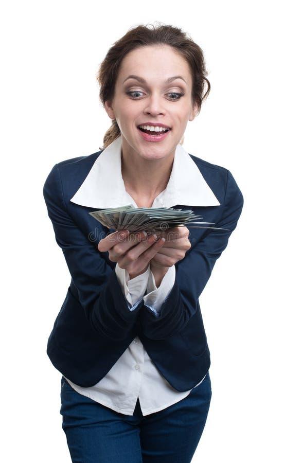 Bizneswoman trzyma mnóstwo pieniądze zdjęcia stock