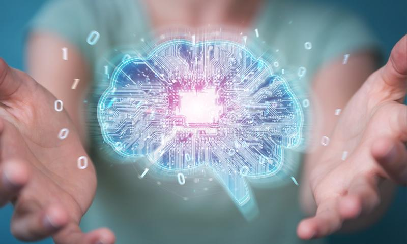 Bizneswoman tworzy sztuczną inteligencję w cyfrowym braja
