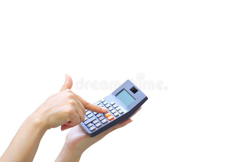 Bizneswoman używa kalkulatora na białym tle, księgowi kalkuluje zysk i stopy procentowej pojęcie obrazy stock