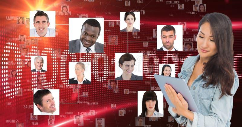 Bizneswoman używa pastylka komputer portretami ilustracja wektor