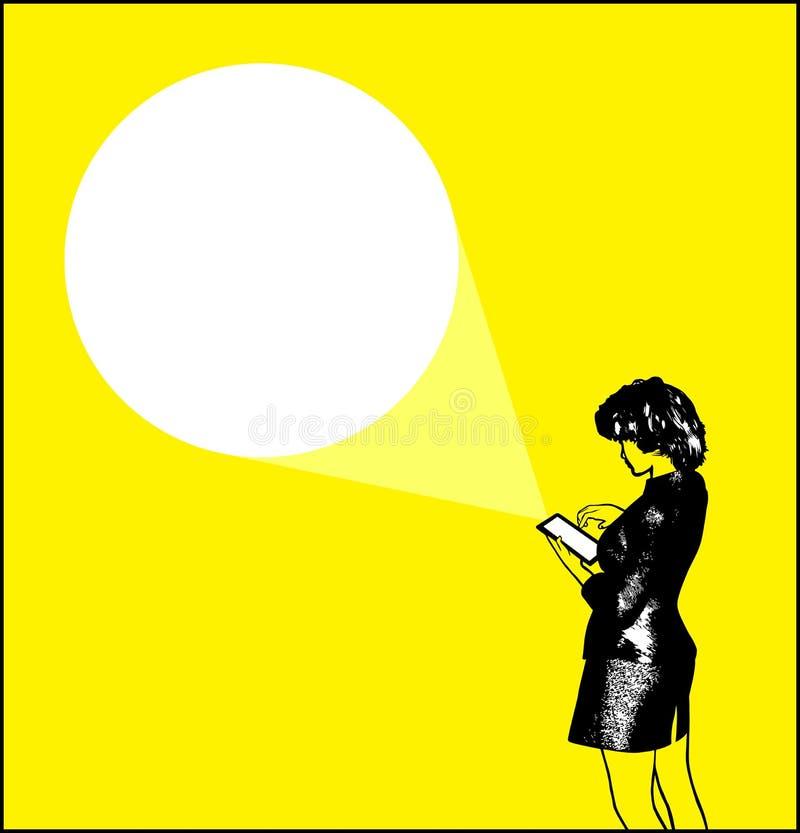 Bizneswoman Używa pastylka peceta wiszącej ozdoby projektor ilustracja wektor