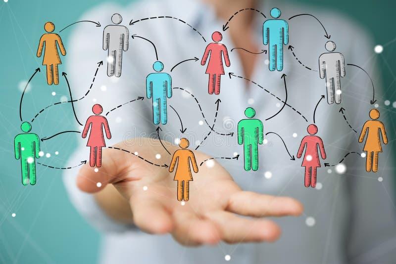 Bizneswoman używa ręka rysującego ogólnospołecznego sieć interfejs royalty ilustracja