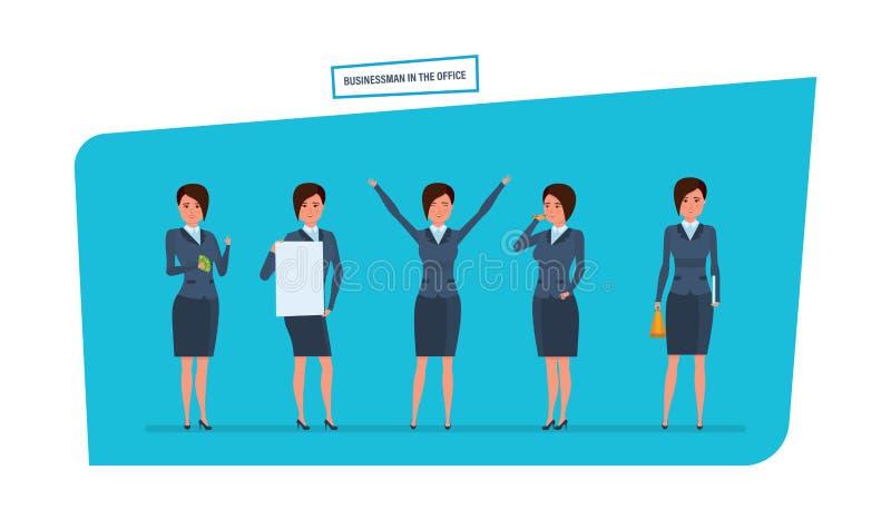 Bizneswoman w biurowej pracy sytuacjach Praca z dokumentami, archiwa, projekty royalty ilustracja