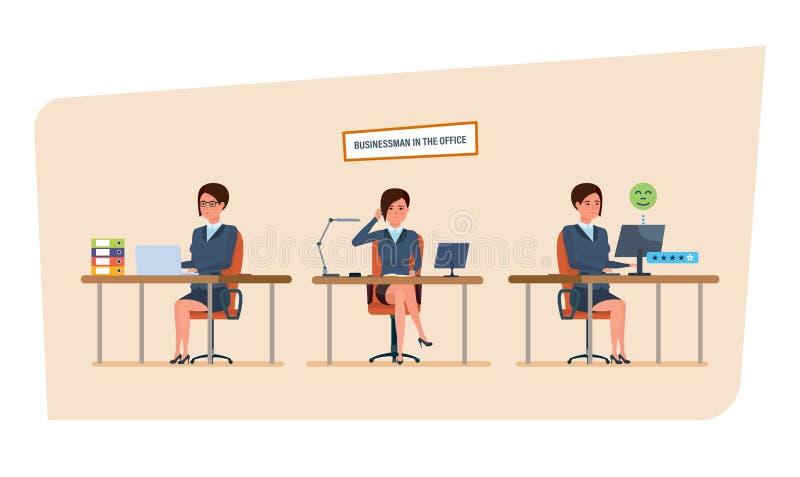 Bizneswoman w biurowej pracy sytuacjach Pracować w biurze przy biurkiem ilustracja wektor