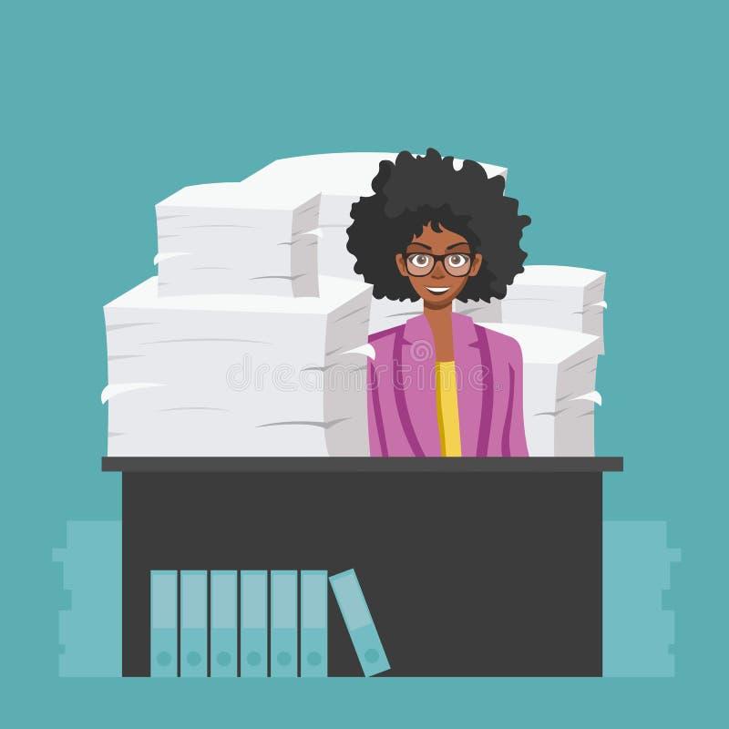 Bizneswoman?w chwyt?w stos biuro tapetuje i dokumenty Dokumenty i kartoteki rutyna, biurokracja, du?y dane, papierkowa robota, bi royalty ilustracja