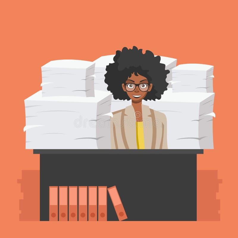 Bizneswoman?w chwyt?w stos biuro tapetuje i dokumenty Dokumenty i kartoteki rutyna, biurokracja, du?y dane, papierkowa robota, bi ilustracji