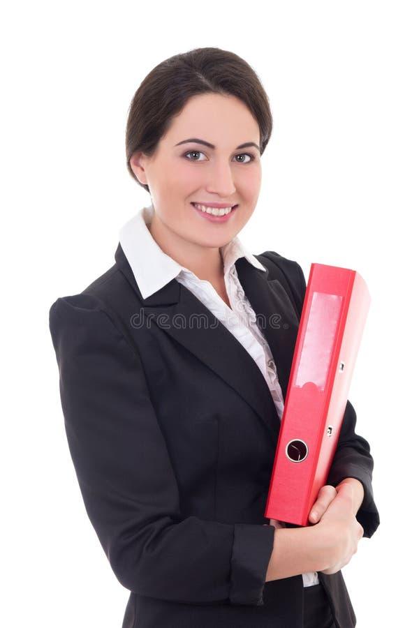 Bizneswoman w czarnym kostiumu z czerwoną falcówką odizolowywającą na bielu obraz royalty free