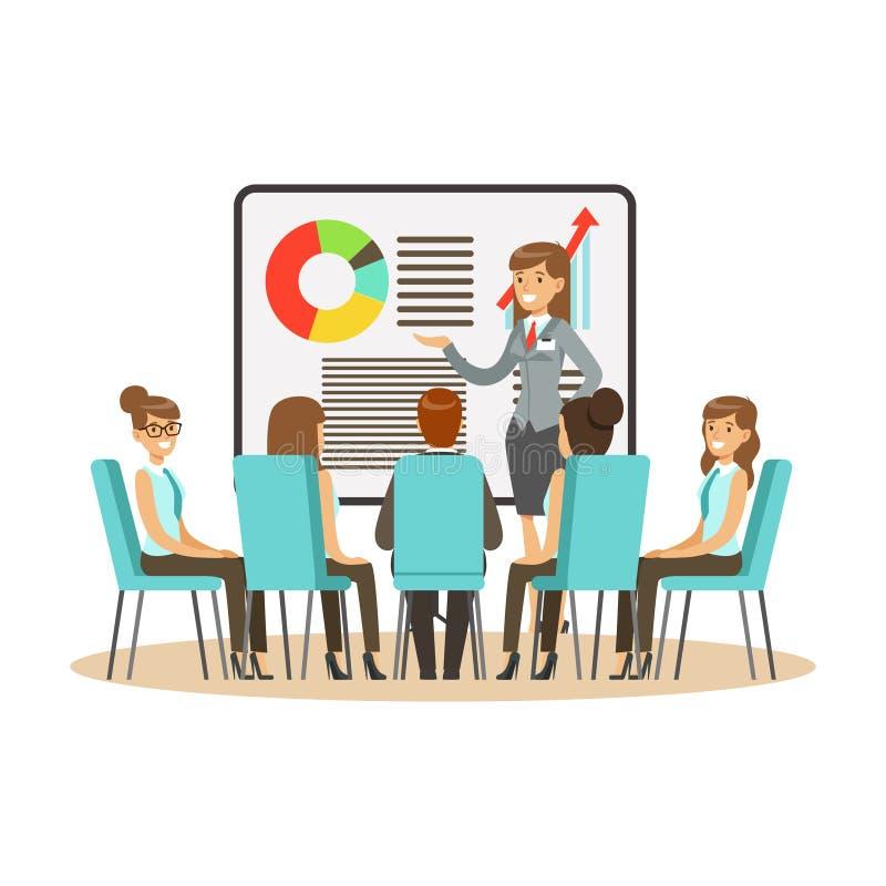 Bizneswoman w kostiumu robi prezentaci i wyjaśnia mapę na whiteboard, biznesowy spotkanie w biurowym wektorze ilustracja wektor
