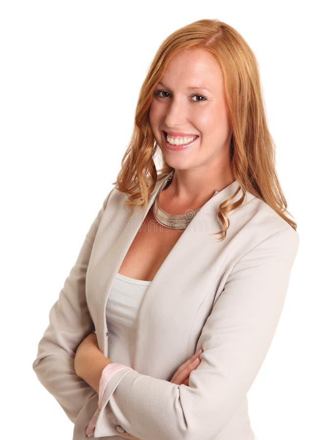 Bizneswoman w niebieskiej marynarce obraz stock