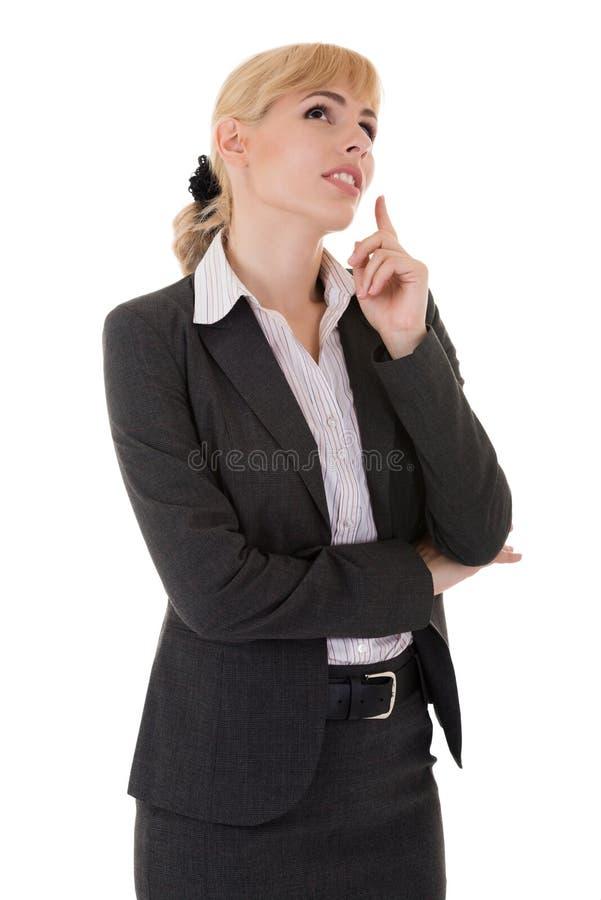 Bizneswoman w rozwiązania gmeraniu fotografia royalty free