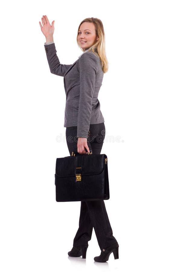 Bizneswoman w szarość kostiumu odizolowywającym na bielu zdjęcie stock