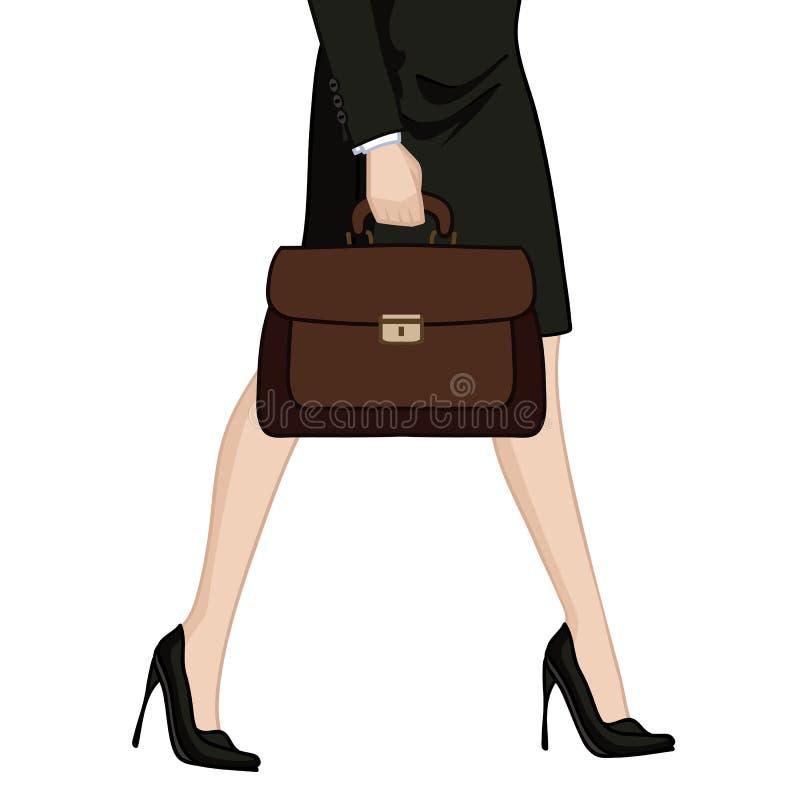 Bizneswoman w szpilkach z teczką royalty ilustracja