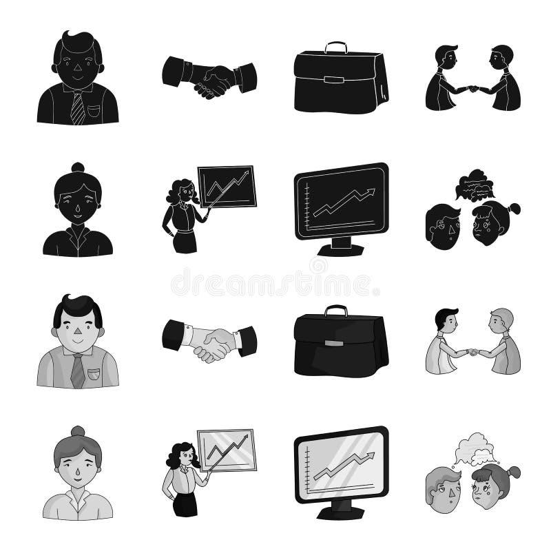 Bizneswoman, wzrostowe mapy, brainstorming Konferencja i negocjacje ustawiamy inkasowe ikony w czerni royalty ilustracja