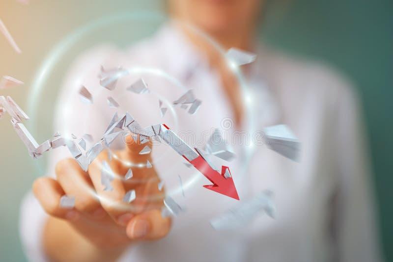Bizneswoman z łamanego kryzysu strzałkowatym 3D renderingiem ilustracja wektor
