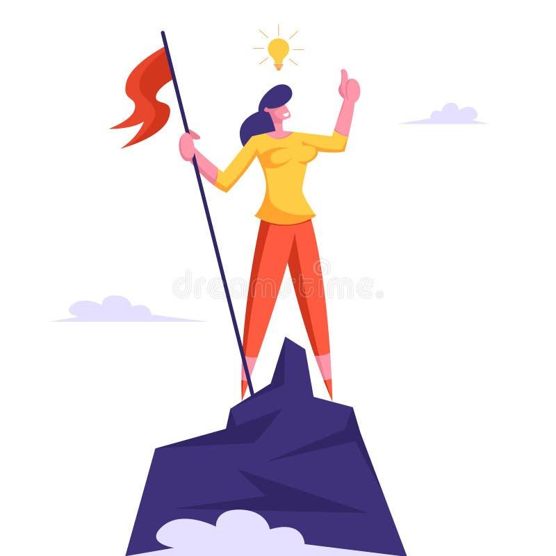 Bizneswoman z żarówka koszt stały Wspinającym się wierzchołek góra i Podnosząca flaga na skała szczycie Zwycięstwo, rywalizacja royalty ilustracja