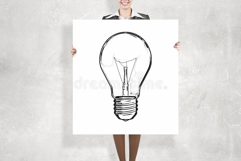 Bizneswoman z białym sztandarem zdjęcie stock