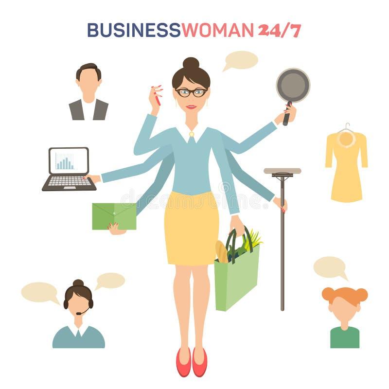 Bizneswoman z dużo wręcza multitasking royalty ilustracja
