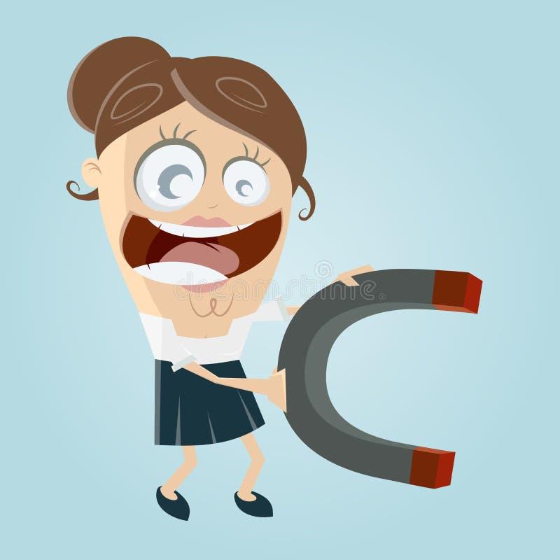 Bizneswoman z dużym magnesem ilustracja wektor