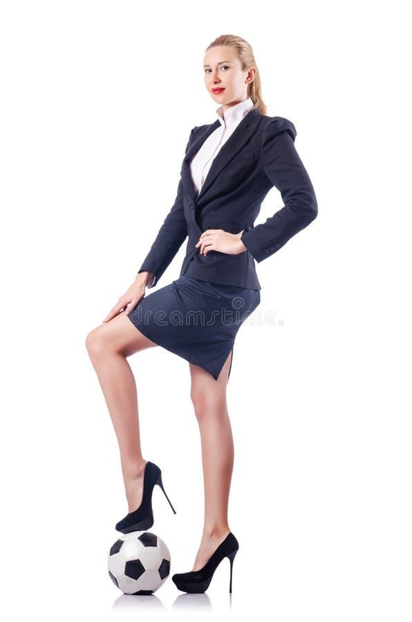 Bizneswoman z futbolem zdjęcie stock