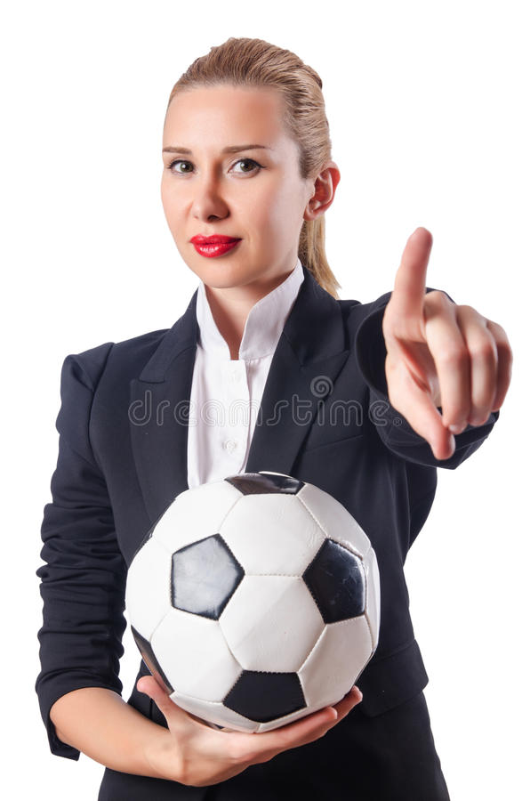 Bizneswoman z futbolem obrazy royalty free