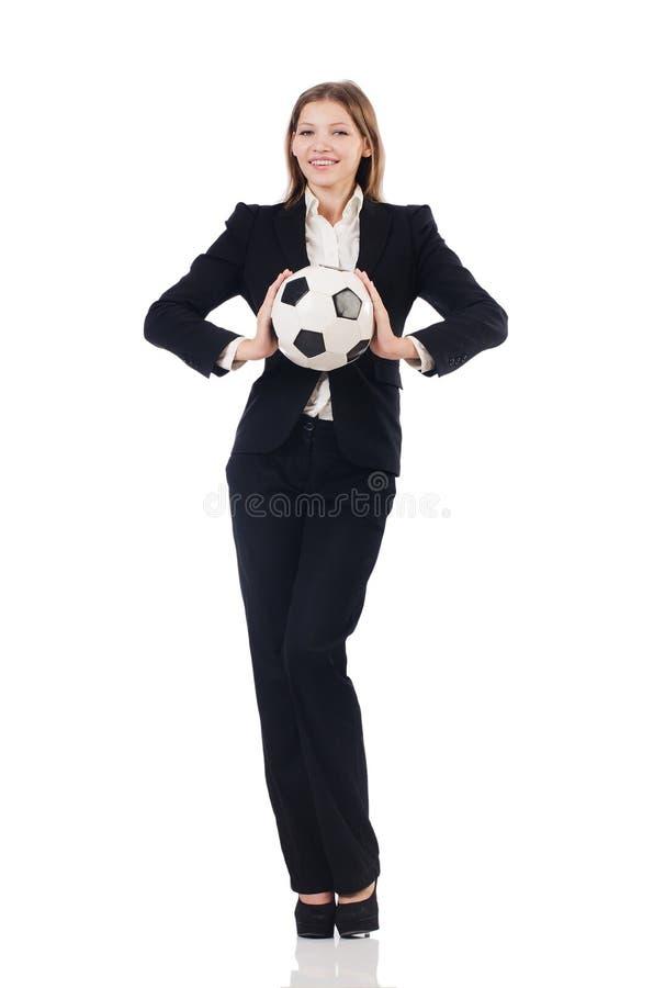 Bizneswoman z futbolem fotografia royalty free