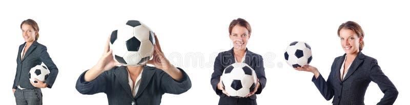 Bizneswoman z futbolem na bielu obraz stock