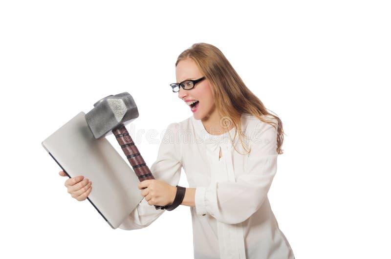 Bizneswoman z laptopem w biznesowym pojęciu zdjęcia stock