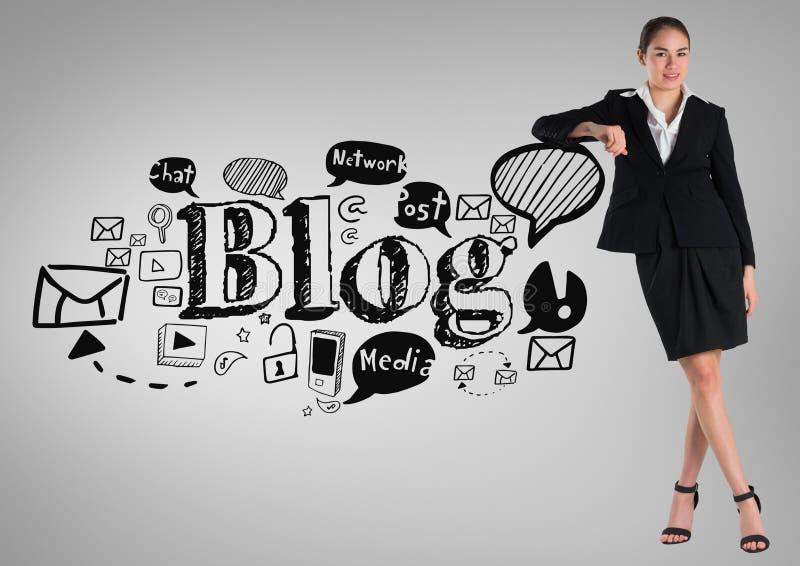 Bizneswoman z ogólnospołecznymi medialnymi blog grafika rysunkami ilustracja wektor