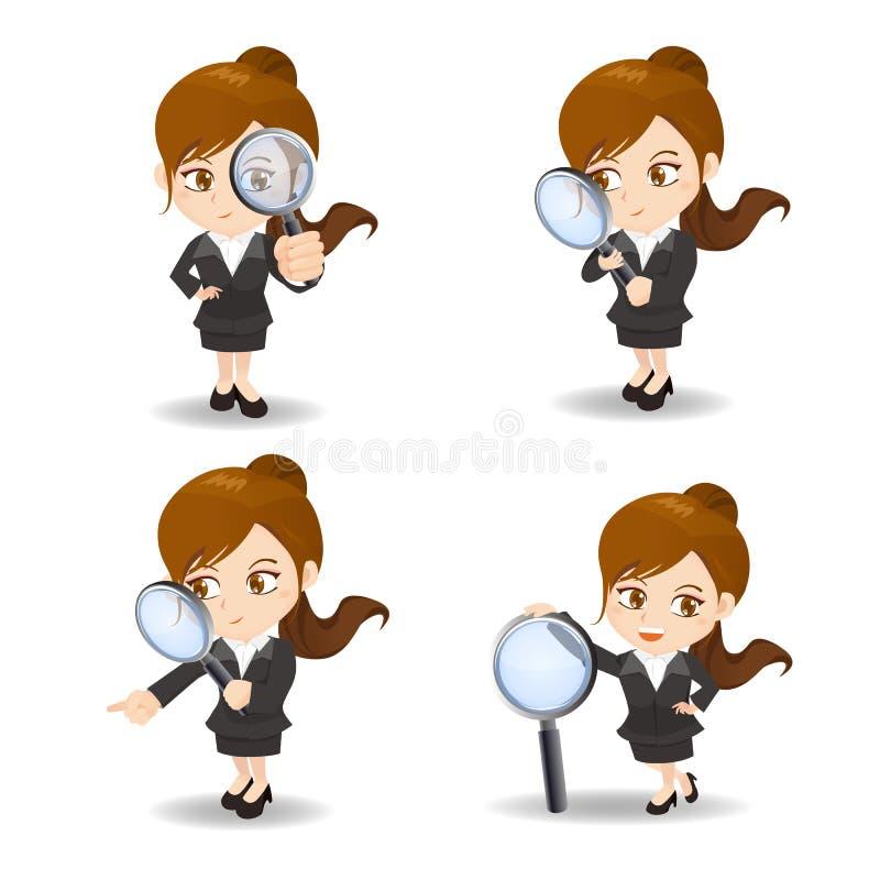 Bizneswoman z powiększa szkło ilustracji